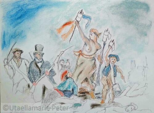 Liberte, Fraternite, Klopape-Zeichnung